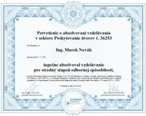 Osvedčenie Marek Novák